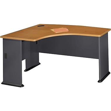 Bush Cubix Left L-Bow Desk, Slate Gray and White Spectrum