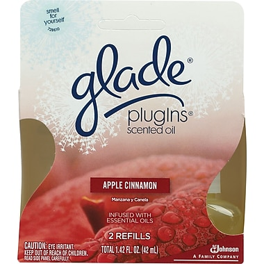 Glade PlugIns Scented Oil Warmer Refill, Apple Cinnamon, 2/Pack