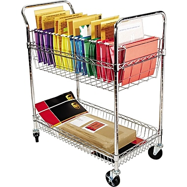 Alera® 39 1/2in.H x 34 1/4in.W x 21 1/2in.D 2-Shelf Wire Mail Cart, Chrome