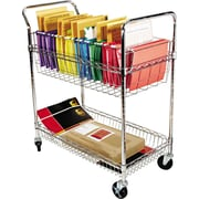 Alera® 39 1/2H x 34 1/4W x 21 1/2D 2-Shelf Wire Mail Cart, Chrome