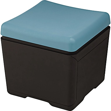 Iceberg Otto™ 18in.D High-Density Polyethlene File Ottoman, Aqua/Black