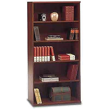 Bush Westfield 5-Shelf Bookcase, Hansen Cherry and Graphite Gray