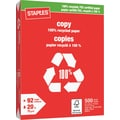 Staples® 100% Recycled FSC-Certified Copy Paper, 20 lb., 8-1/2in. x 11in., Ream