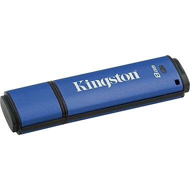 Kingston DataTraveler Vault Privacy Managed 8GB USB 2.0 Data Encrypted USB Flash Drive (Blue)