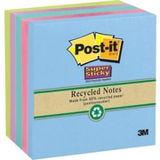 Post-it® Super Sticky 3 x 3  Recycled Tropic Breeze Notes, 5 Pads/Pack