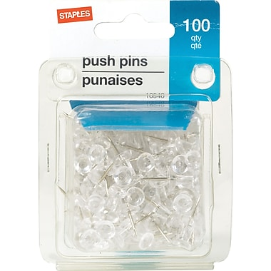 Staples Push Pins, Clear, 100/Pack