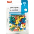 Staples Push Pins, Assorted Colors, 100/Pack