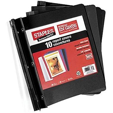 Staples® – Couverture de rapport transparente à 3 crampons, noir, paq./10