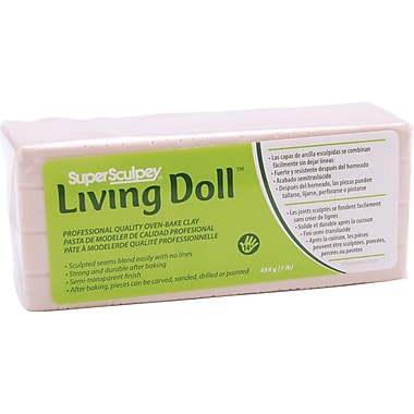 Polyform Super Sculpey Living Doll Clay, 1 Pound, Light