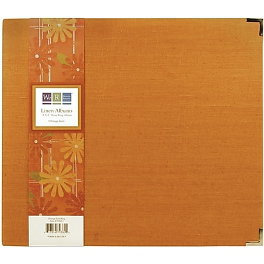 We R Memory Keepers We R Linen 3-Ring Binder, 8in. x 8in., Orange Zest