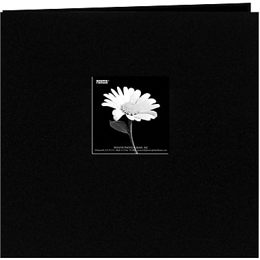 Pioneer Book Cloth Cover Postbound Album With Window, 8in. x 8in., Black