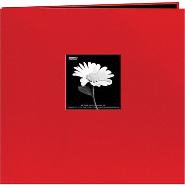 Pioneer Book Cloth Cover Postbound Album With Window, 8in. x 8in., Red
