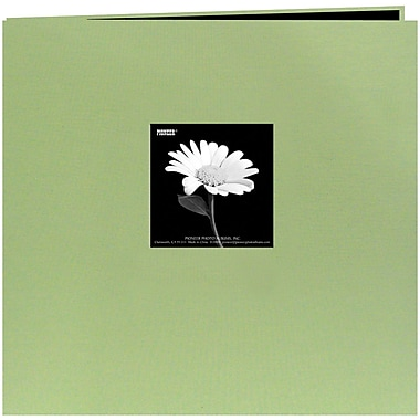 Pioneer Book Cloth Cover Postbound Album With Window, 8in. x 8in., Sage Green