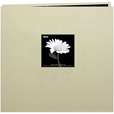 Pioneer Book Cloth Cover Postbound Album With Window, 8in. x 8in., Biscott Beige