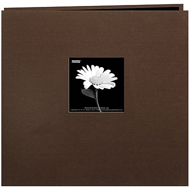 Pioneer Book Cloth Cover Postbound Album With Window, 8in. x 8in., Brown