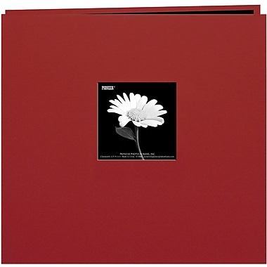 Pioneer Book Cloth Cover Postbound Album With Window, 8in. x 8in., Burgundy