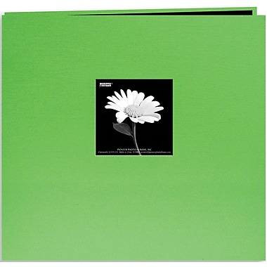 Pioneer Book Cloth Cover Postbound Album With Window, 8in. x 8in., Citrus Green