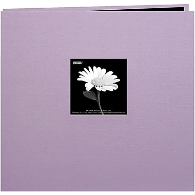 Pioneer Book Cloth Cover Postbound Album With Window, 8in. x 8in., Misty Lilac