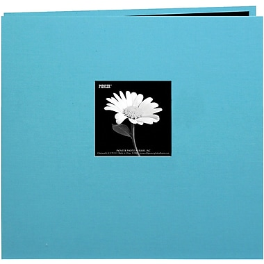 Pioneer Book Cloth Cover Postbound Album With Window, 8in. x 8in., Turquoise Blue