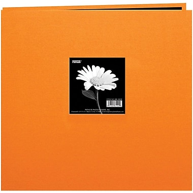 Pioneer Book Cloth Cover Postbound Album With Window, 8in. x 8in., Orange