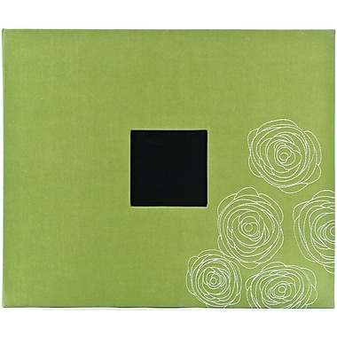 American Crafts Patterned 3-Ring Album, 12in. x 12in., Leaf W/Embroidered Flower Roses