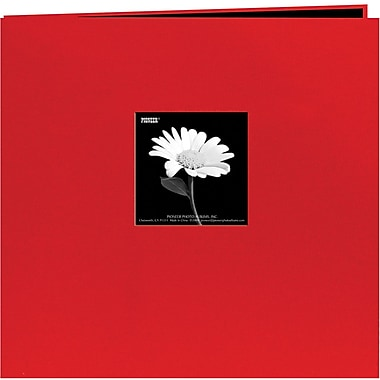 Pioneer Book Cloth Cover Postbound Album With Window, 12in. x 12in., Red