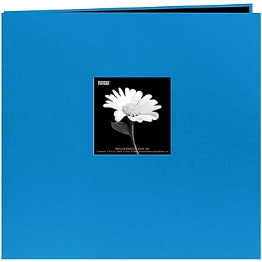 Pioneer Book Cloth Cover Postbound Album With Window, 12in. x 12in., Sky Blue