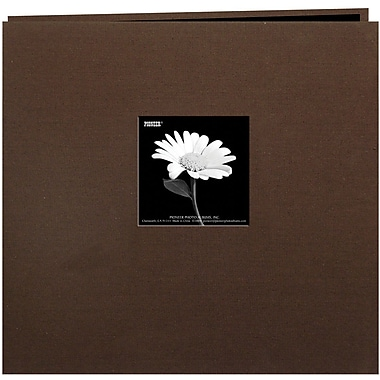 Pioneer Book Cloth Cover Postbound Album With Window, 12in. x 12in., Brown