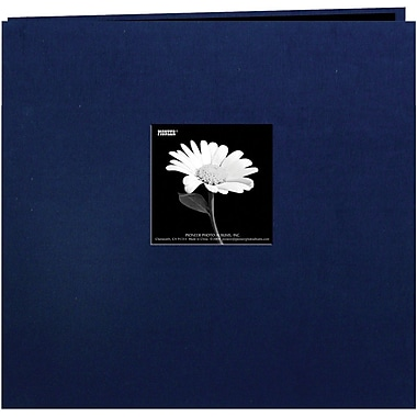 Pioneer Book Cloth Cover Postbound Album With Window, 12in. x 12in., Regal Navy