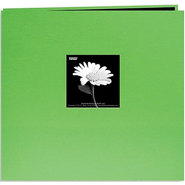 Pioneer Book Cloth Cover Postbound Album With Window, 12in. x 12in., Citrus Green