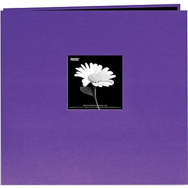 Pioneer Book Cloth Cover Postbound Album With Window, 12in. x 12in., Grape Purple