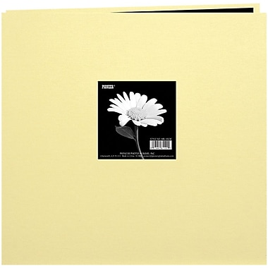 Pioneer Book Cloth Cover Postbound Album With Window, 12in. x 12in., Soft Yellow
