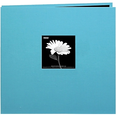 Pioneer Book Cloth Cover Postbound Album With Window, 12in. x 12in., Turquoise Blue