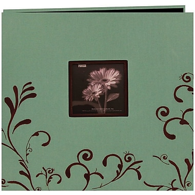 Pioneer Scroll Embroidery Fabric Postbound Album With Window, 12in. x 12in., Aqua With Brown