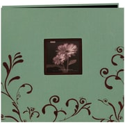 Pioneer Scroll Embroidery Fabric Postbound Album With Window, 12 x 12, Aqua With Brown
