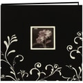 Pioneer Scroll Embroidery Fabric Postbound Album With Window, 12in. x 12in., Black With White