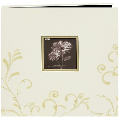 Pioneer Scroll Embroidery Fabric Postbound Album With Window, 12in. x 12in., Ivory