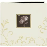 "Pioneer Scroll Embroidery Fabric Postbound Album With Window, 12"" x 12"", Ivory"