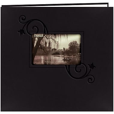 Pioneer Embossed Leatherette Postbound Album With Window, 12in. x 12in., Black With Floral