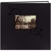 Pioneer Embossed Leatherette Postbound Album With Window, 12 x 12, Black With Floral