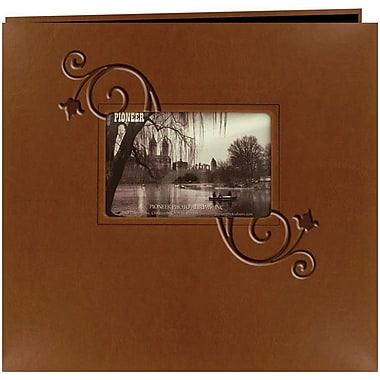Pioneer Embossed Leatherette Postbound Album With Window, 12in. x 12in., Brown With Floral