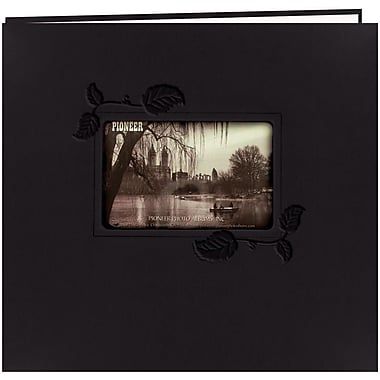 Pioneer Embossed Leatherette Postbound Album With Window, 12in. x 12in., Black With Ivy