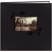 Pioneer Embossed Leatherette Postbound Album With Window, 12 x 12, Black With Ivy