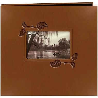 Pioneer Embossed Leatherette Postbound Album With Window, 12in. x 12in., Brown With Ivy