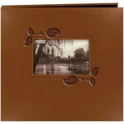 "Pioneer Embossed Leatherette Postbound Album With Window, 12"" x 12"", Brown With Ivy"