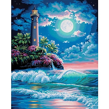 Dimensions Paint By Number Craft Kit Painting, 16in. x 20in., Lighthouse In The Moonlight (91424)