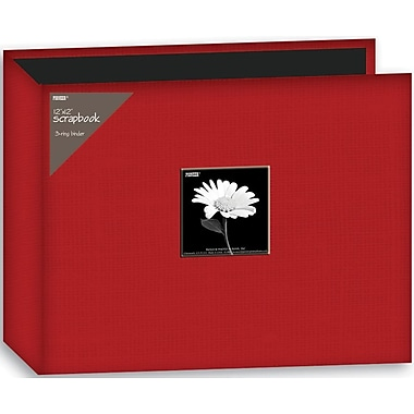 Pioneer Fabric 3-Ring Binder Album With Window, 12in. x 12in., Red