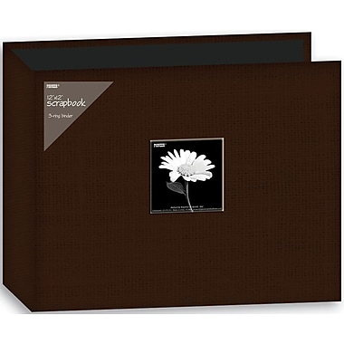Pioneer Fabric 3-Ring Binder Album With Window, 12in. x 12in., Brown