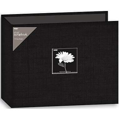 Pioneer Fabric 3-Ring Binder Album With Window, 12in. x 12in., Black