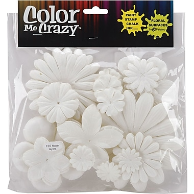 Petaloo Color Me Crazy Flowers, 120/Pkg, Assorted